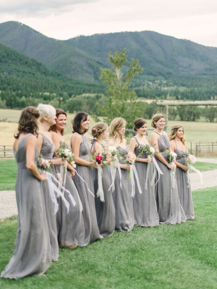Bridesmaids Gowns by Amsale -- #Gray -- See the wedding on http://www.StyleMePretty.com/2014/04/07/rustic-farm-to-table-wedding-in-montana/ Jeremiah And Rachel Photography - jeremiahandrachel.com