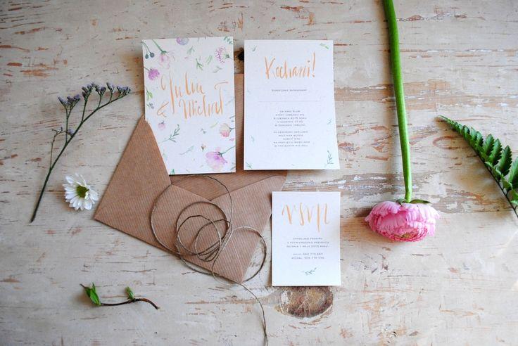 wedding rustic flower callipraphy invitation, Zaproszenia śliubne letnie z motywem kwiatowym. #zaproszeniaślubne #zaproszeniakaligrafia #weddinginvitations