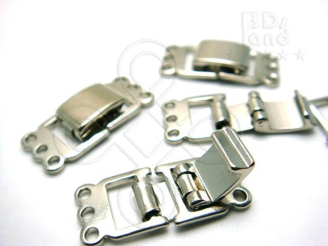 new ( B805RH ) 2 Sets / 21 x 19 mm - Rhodium Plated 3 Strands Snap-On Rectangle Watch Clasp Findings. $1.90, via Etsy.