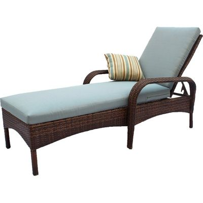 Brookshire resin wicker patio chaise lounge blue for for Blue chaise lounge