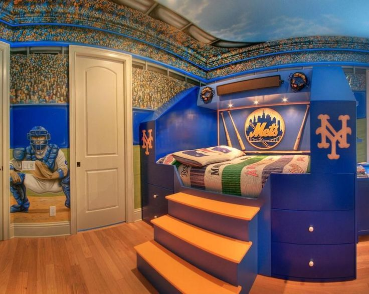 Amazingly Detailed Hand Painted Wall Mural In A Boys Room Featuring Baseball Stadium