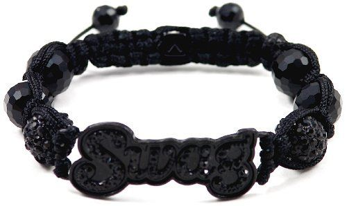 "SWAG Bracelet Iced Out Black Color With Crystal Balls Adjustable Macrame Shamballa Inspired Style GWOOD. $13.99. Macrame adjustable slip knot cord wrapped design. ""One size fits all"" adjustable approximately 9 1/2 inches to 11 3/4 inches. One 8 mm face cut end ball on each pull cord. Two 12 mm iced out crystal balls and four 10 mm face cut black onyx style balls. SWAG Iced Out ID Plate Bracelet. Save 83% Off!"