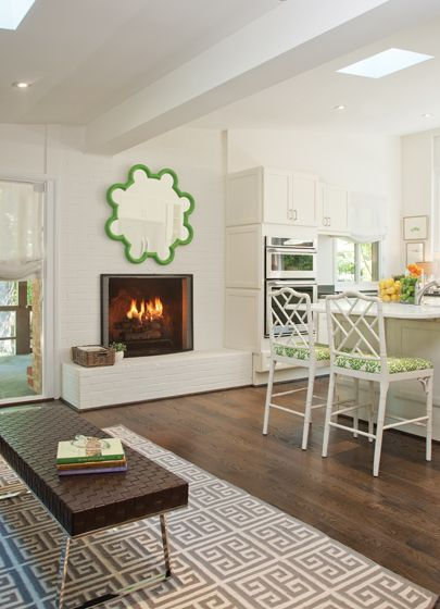 Barbara Hawthorn painted the #brick #fireplace in the #kitchen white. # interior