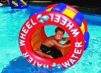Wipeout Party Water Wheels are anywhere from 35.00-50.00 dollars online! Would be cool to use Dianna's pool for this!
