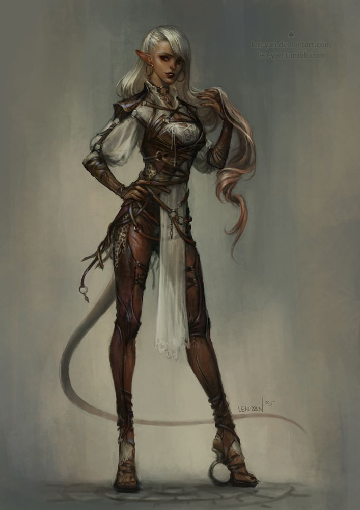 longtail by len-yan female elf tiefling demon devil ranger rogue fighter thief assassin leather armor clothes clothing fashion player character npc | Create your own roleplaying game material w/ RPG Bard: www.rpgbard.com | Writing inspiration for Dungeons and Dragons DND D&D Pathfinder PFRPG Warhammer 40k Star Wars Shadowrun Call of Cthulhu Lord of the Rings LoTR + d20 fantasy science fiction scifi horror design | Not Trusty Sword art: click artwork for source