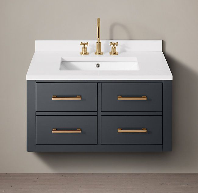 Rh S Hutton Single Floating Vanity This Versatile Collection Brings A Spare Parsons Like Sensibility To The Floating Bathroom Vanities Floating Vanity Vanity