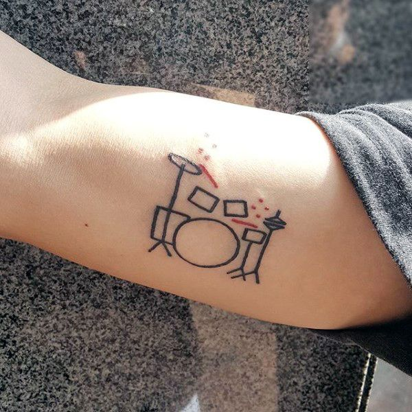 Small Simple Black Ink Outline Male Drums Tattoos On Bicep