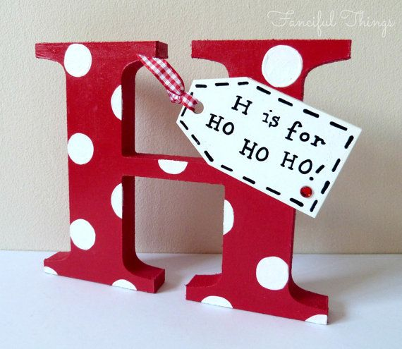 Medium Bright Polka Dot Christmas Wooden Standing Letter with Tag Custom Made
