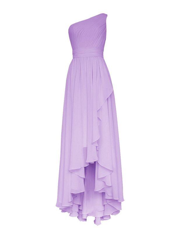 Simple Lavender One Shoulder A-line Hi-lo Chiffon Bridesmaid Dress