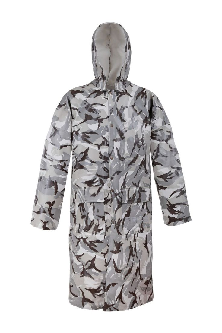 CAMO WATERPROOF COAT Model: 106/CAM The model is made on Camo colours and offers you camouflage stage. The model fastened with snaps with a hood and 2 welded pockets. The jacket is made of waterproof PVC/cotton fabric. The product is recommended for use under extreme weather conditions, during hunting and fishing activities and also during other outdoor works. The coat offers you a good protection against rain and wind.