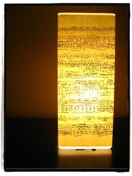 a simple ikea lamp, covered with a music sheet...