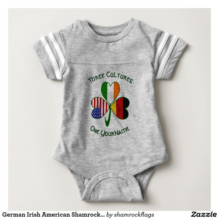 German Irish American Shamrock Jaunty Tail Baby Bodysuit