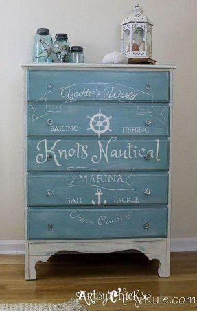 I absolutely adore this! Coastal Themed Thrift Store Dresser