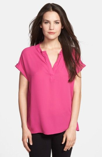 Free shipping and returns on Pleione Split Neck Blouse (Regular & Petite) at Nordstrom.com. A soft-flowing blouse available in a variety of solid colors and prints features a woven front and knit back for a trendy mixed-media design.