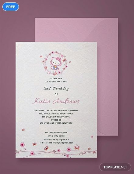 A Cute Invitation With Hello Kitty Design That Is Perfect For Your Party Event Notify People Using This Files High Quality Layouts And Designs Easy To