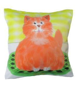 The Purrrrfect Cushion. Throw pillow by Chelsea Design NZ. We call this cat Archiebald. He is extremely huggable. It looks like he's actually sitting on the couch and you can't help yourself from picking him up and giving him big hugs, 45cmx45cm Machine washable 100% polyester with satin look and feel. Concealed zip. Cushion cover on its' own or supplied with 400gm scatter tigerfil inner.