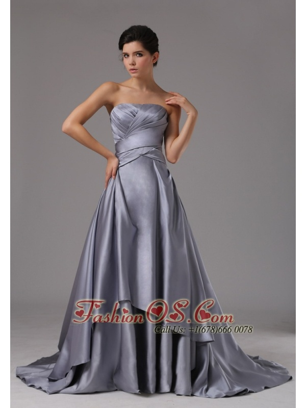 Strapless Elastic Woven Satin A-Line / Princess Brush Train 2013 Prom Dress Ruched- $148.59  http://www.fashionos.com  http://www.facebook.com/prom.fashionos.us  This long strapless gown for prom is chic and elegant with a simple yet trendy design. A strapless evening gown at such a low price is hard to find now, features a sexy sweetheart and ultimat material, this long ruched bodice gown is quite elegant for you to go to any formal or informal occassion.