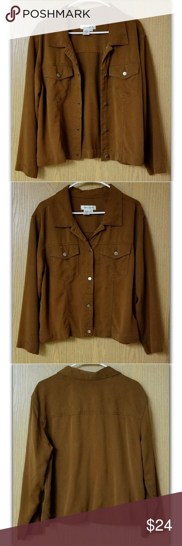 """COLDWATER CREEK 100% Cotton Jean Jacket Like new, this milk chocolate colored jacket is PERFECT for cooler weather!  Traditional jean jacket styling without side pockets, super soft 100% Cotton/Tencel.  Length: 24"""" approx. from top of shoulder at collar Chest: 22"""" approx. side to side at armpit Coldwater Creek Jackets & Coats Jean Jackets"""