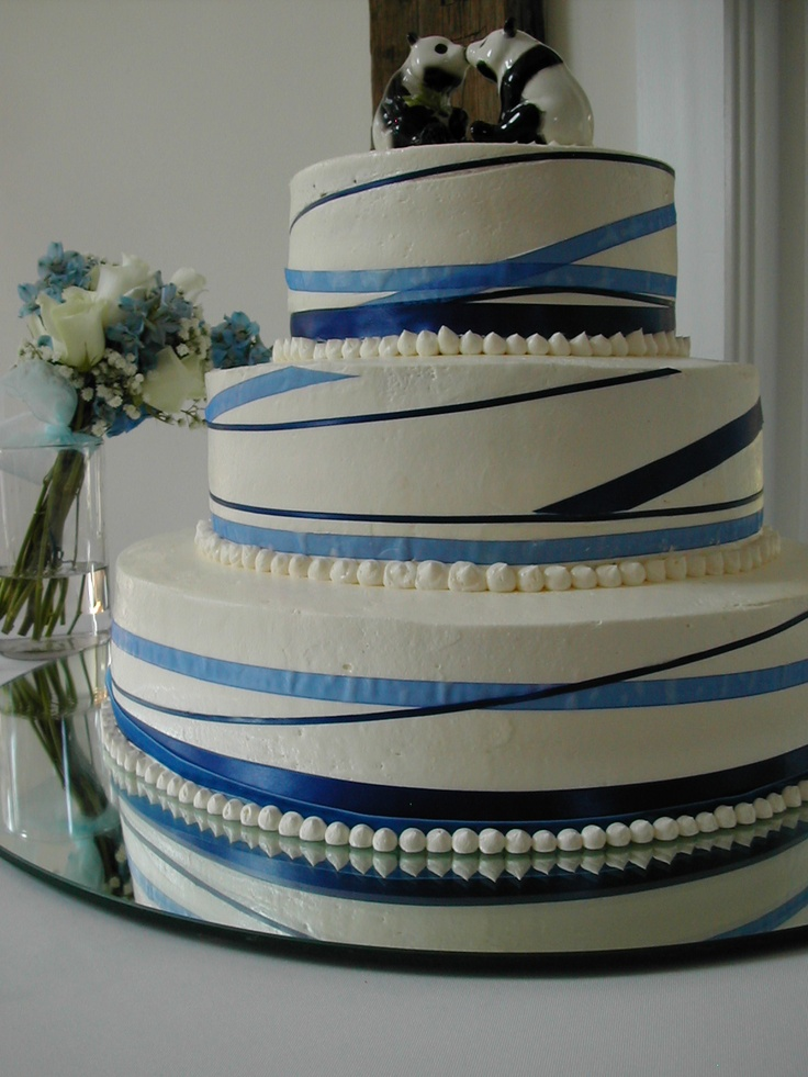 Queen Of Cakes White With Navy Blue Ribbon