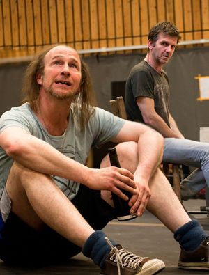 Paul Kaye and Jason Hughes in rehearsals for Our Country's Good.  J