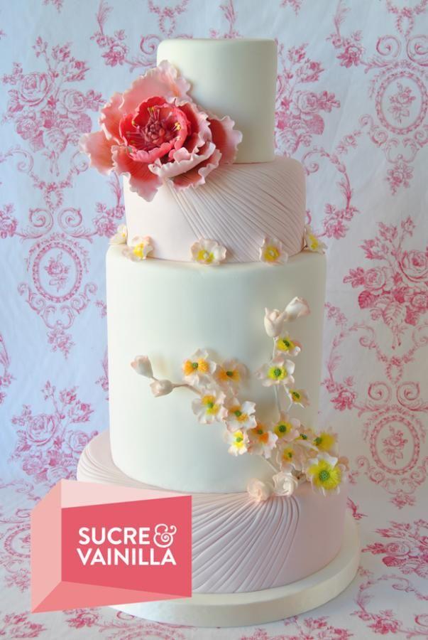 Rose & White Wedding Cake