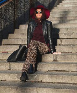 Leopard pants and burgundy