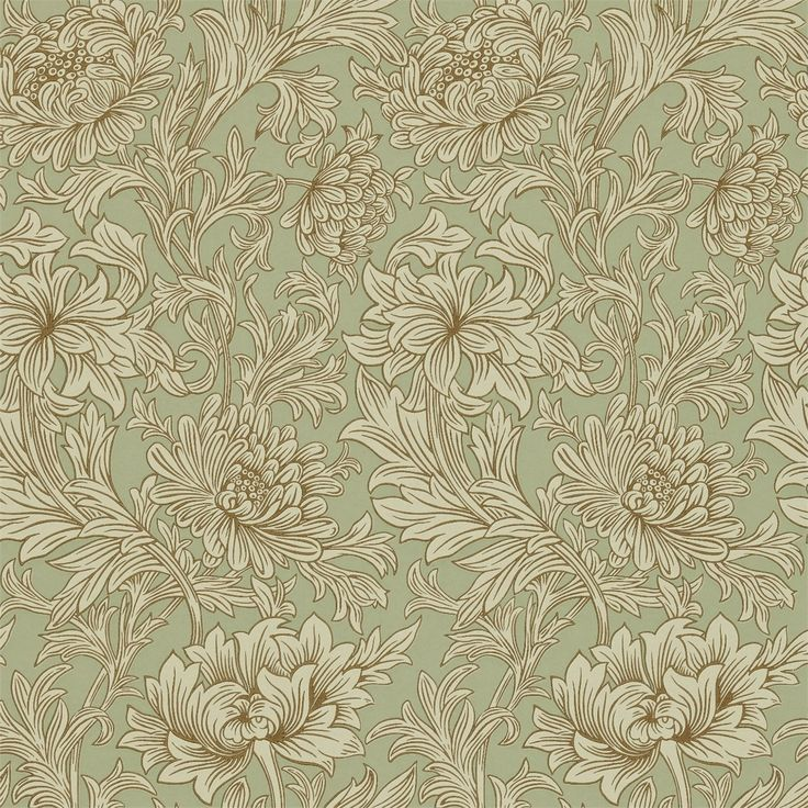 Collection: Compendium II --  Design Name:  Chrysanthemum -- Colour: Eggshell/Gold.  The Original Morris & Co - Arts and crafts, fabrics and wallpaper designs by William Morris & Company   Products   British/UK Fabrics and Wallpapers   Chrysanthemum (DMCW210418)   Compendium II Wallpapers
