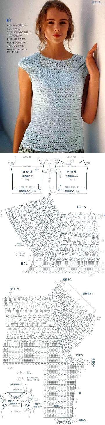 White Blouse - Free Crochet Diagram - (postila)