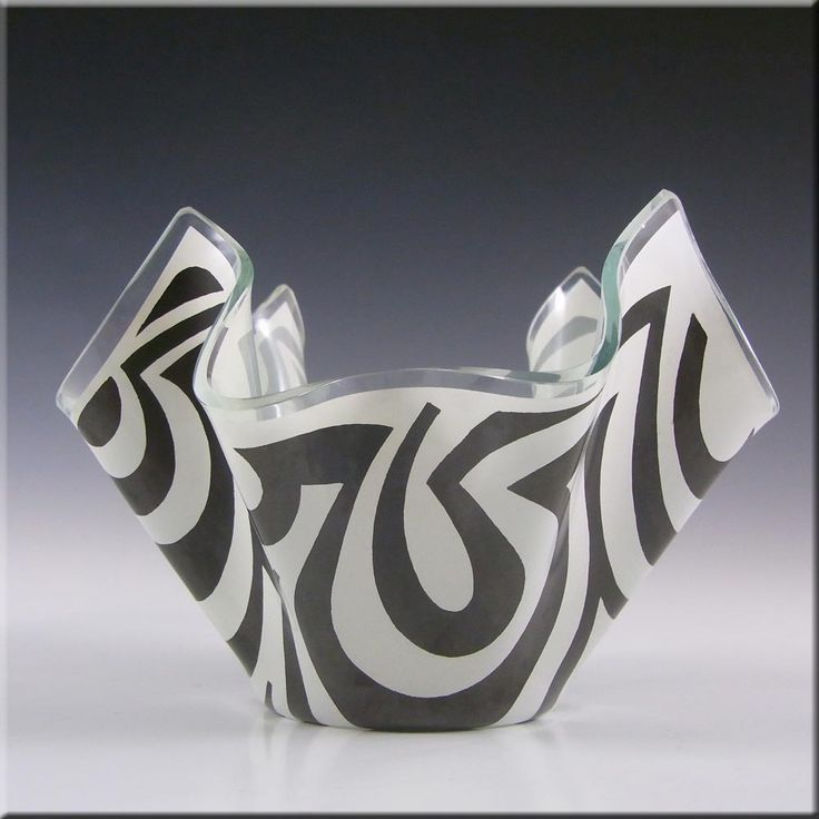 Chance Brothers Black Glass 'Psychedelic' Handkerchief Vase #2 - £30.00