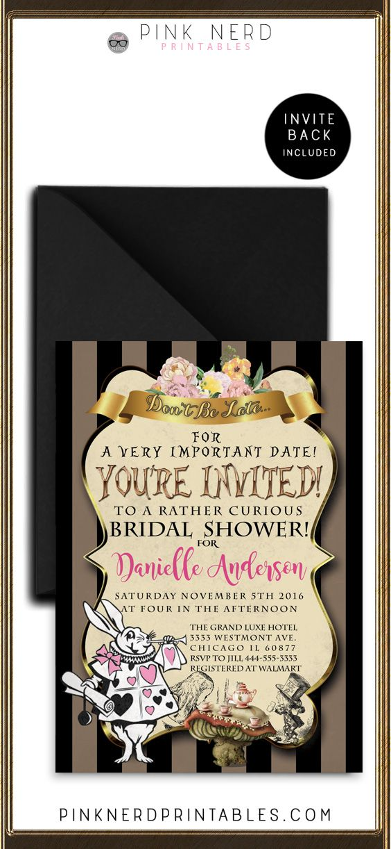 recipe themed bridal shower invitation wording%0A Alice in wonderland bridal shower invitation