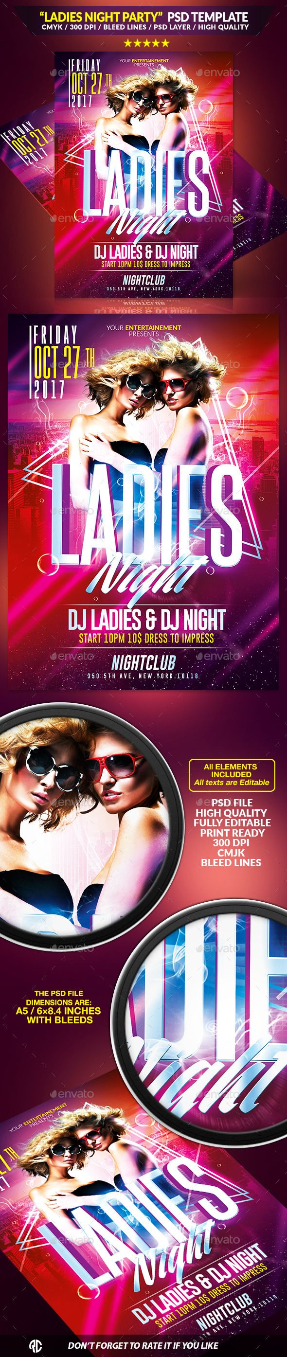 Ladies Night Party Flyer Template PSD #design Download: http://graphicriver.net/item/ladies-night-party-psd-template/12970542?ref=ksioks