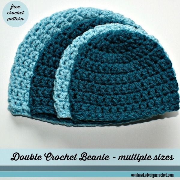 Double Crochet Beanie, free crochet pattern by Oombawka Design in 11 sizes from preemie to large men ༺✿ƬⱤღ✿༻