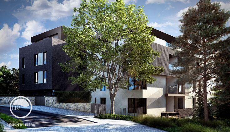 Moderná budova v tieni stromov