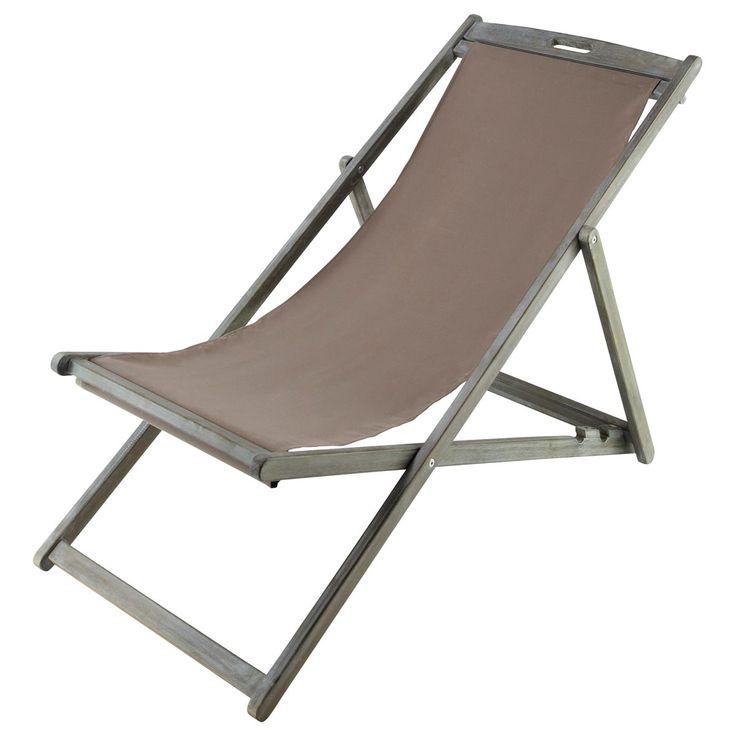 Chaise longue / chilienne pliante en acacia grisée L 111 cm Panama | Maisons du Monde
