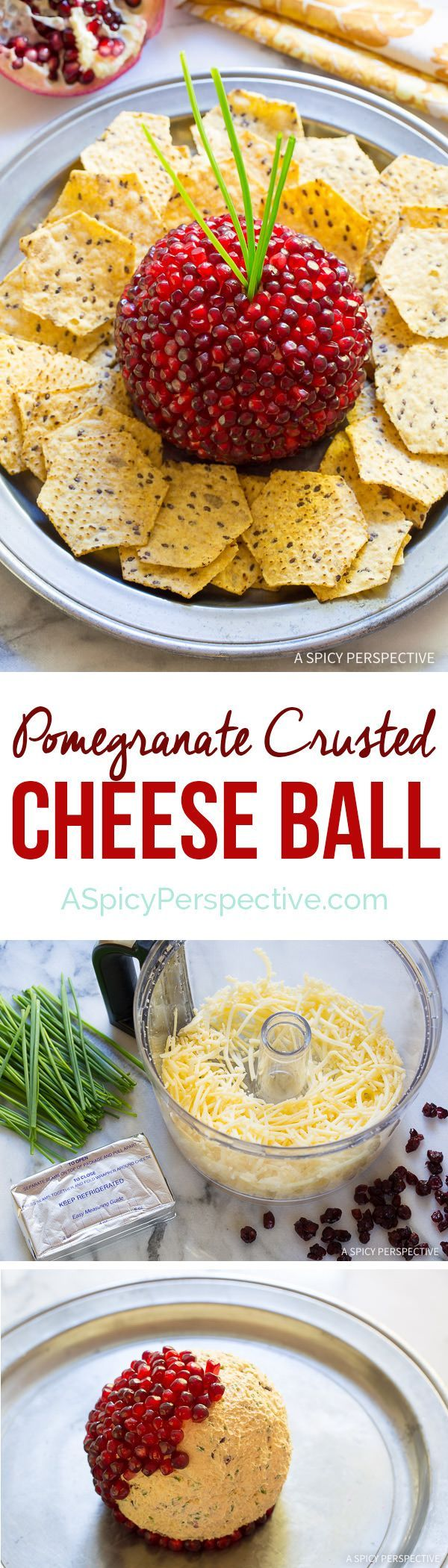 Easy to Make 7-Ingredient Holiday Pomegranate Crusted Cheese Ball Recipe on ASpicyPerspective...