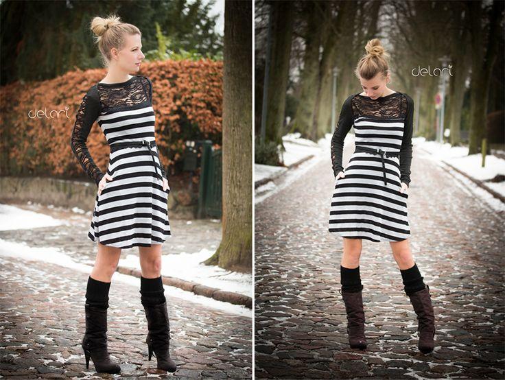 Kleid mit Streifen und Spitze, Schnitt Ella von Pattydoo