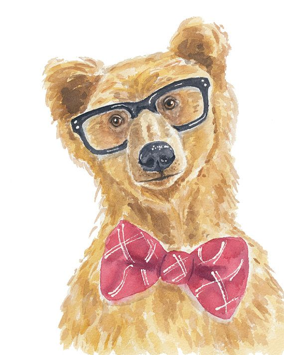 Grizzly Bear Watercolor Painting Print, 8x10 PRINT, Brown Bear, Cute Bear, Nursery Art, Hipster Glasses