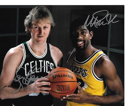 Basketball Hall Of Famers Bird Johnson Dual Autographed Collector Photo 8x10 In 2020 Larry Bird Magic Johnson Sports