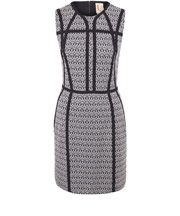 Navy Panel Print Sleeveless Dress