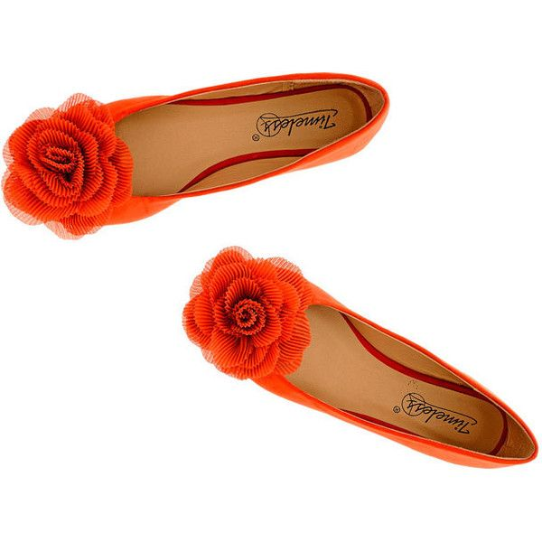 Timeless 'Rosebud' flower-embellished ballet flats ❤ liked on Polyvore featuring shoes, flats, embellished flats, ballerina flat shoes, ballerina pumps, flat ballet pumps and orange flat shoes