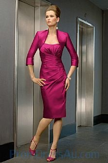 Short Ruched Bodice Common Beautiful Dresses by Fuchsia Color