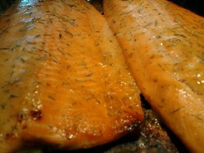 Maple Glazed Trout Recipe  Dijon mustard, maple syrup, dill