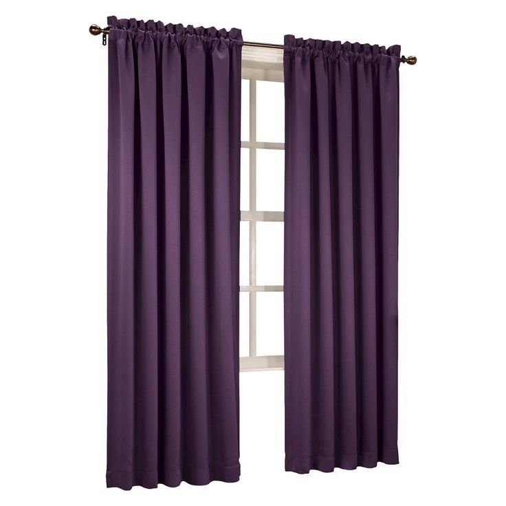"Seymour Room Darkening Pole Top Curtain Panel Plum (Purple) (54""x63"") Sun Zero"
