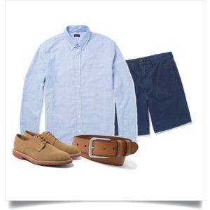 Polyvore: Light blue OCBD, navy shorts, tan leather belt, tan suede derbies.
