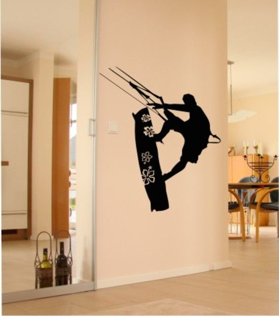 & If you have to come inside...Bring the Best of Outdoors In :) Kitesurfing wall tattoo