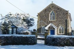 Ilketshall St Andrew methodist chapel. In 1851 there were 83 attendees sitting and 72 others plus 40-60 scholars.