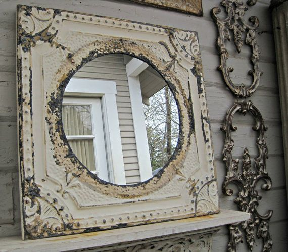 Rustic mirror. 2x2 Framed Antique Ceiling Tin Tile Mirror. Circa 1910. Architectural salvage. Original paint. Ready to Hang.