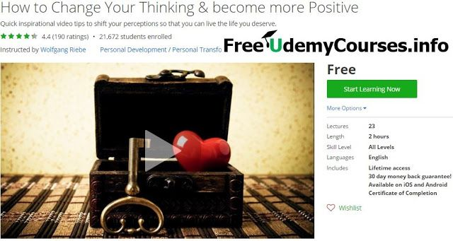 [Udemy #BlackFriday] How to Change Your #Thinking & become more Positive   About This Course  Published 3/2014English  Course Description  Over 18 000 students have taken this course on Udemy!Wolfgang is an Inspirational Speaker who walks his talk with over 600 free videos and 7 million viewson You Tube. This course is a pure 'give back' to help you change your thinking and itconsists of20 Quick Tips each with a different theme. 10 are personally presented by Mind Shift Master Wolfgang Riebe…