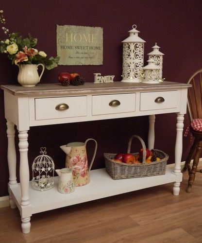 shabby chic white country french style console sideboard hall side table drawer. Black Bedroom Furniture Sets. Home Design Ideas