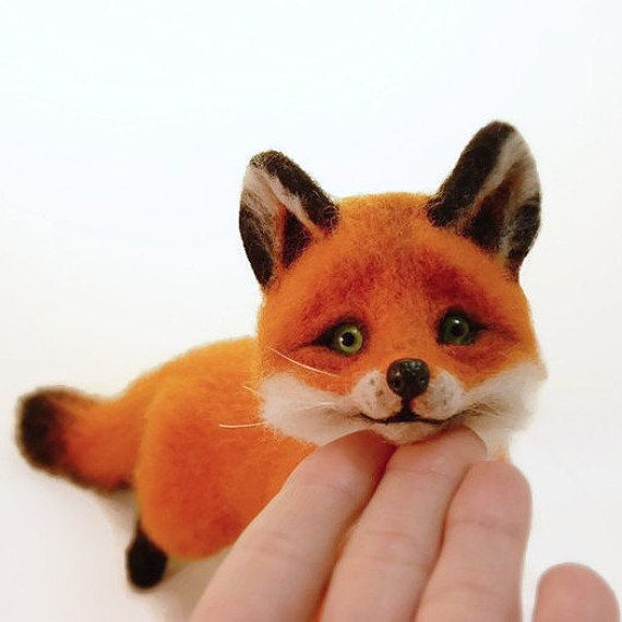 Fox Felted MADE TO ORDER Beautiful foxes Needle Felting Fox Toy soft Toy gift Felt sculpture Needle Felted Animal Felted miniature Fox totem